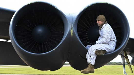 SSgt. Stephen Zbinovec inspects the inside of the engine of a B-52H Stratofortress at RAF Fairford, England, Oct. 18, 2019. Air Force photo by SrA. Stuart Bright.