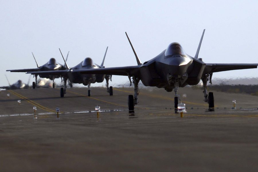 F35 Lightning II's redeploy to Al Dhafra Air Base