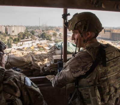 US Army soldiers protect the U.S. Embassy Compound, Baghdad.