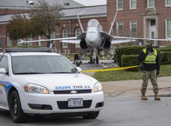 Navy Security Forces patrol NAS Pensacola after shooting