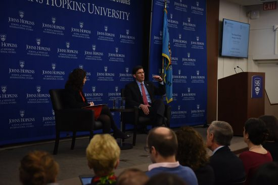 Mark Esper at Johns Hopkins SAIS