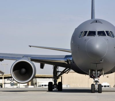 KC-46 lands at Al Udeid Air Base