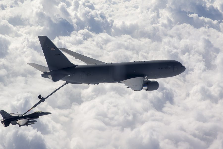 F-16 Fighting Falcon receives fuel from KC-46 Pegasus