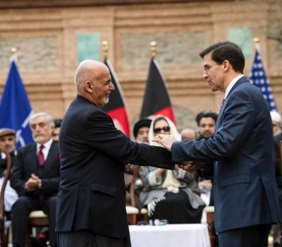 SecDef Esper Shakes Hands with President Ghani at U.S.-Afghanistan Joint Declaration Announcement