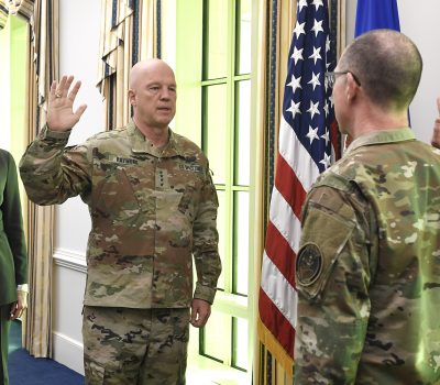 Chief Master Sgt. Roger Towberman is sworn in as the first Senior Enlisted Advisor to the U.S. Space Force.