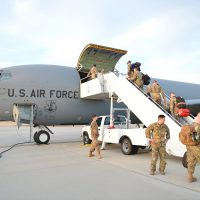 Nebraska Airmen board KC-135 Stratotanker for overseas deployment