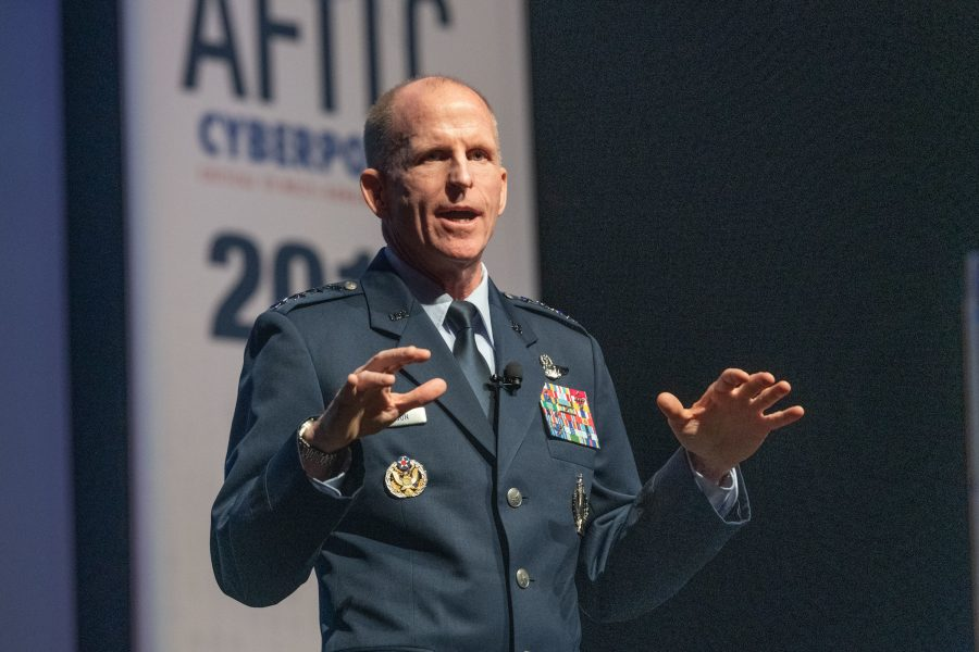 Gen. Wilson, Vice Chief of Staff of the U.S. Air Force, speaks during AFITC