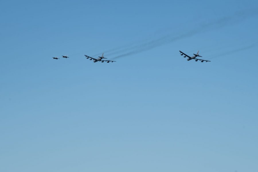 B52s and F15s flyover New Orleans in support of frontline COVID-19 responders