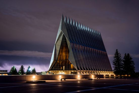 U.S. Air Force Academy Cadet Chapel Lightning Scenic