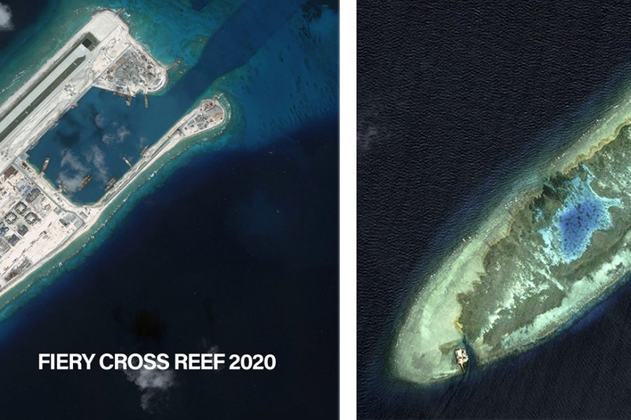 Fiery Cross Reef 2020 and 2006 China PLA