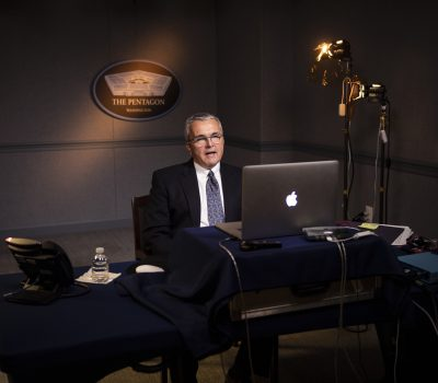 """Acting Assistant Secretary of the Air Force for Space Acquisition and Integration Shawn J. Barnes speaks at a virtual """"Aerospace Nation"""" event"""