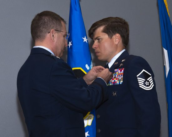 Master Sgt. John Grimesey receives the Silver Star Medal