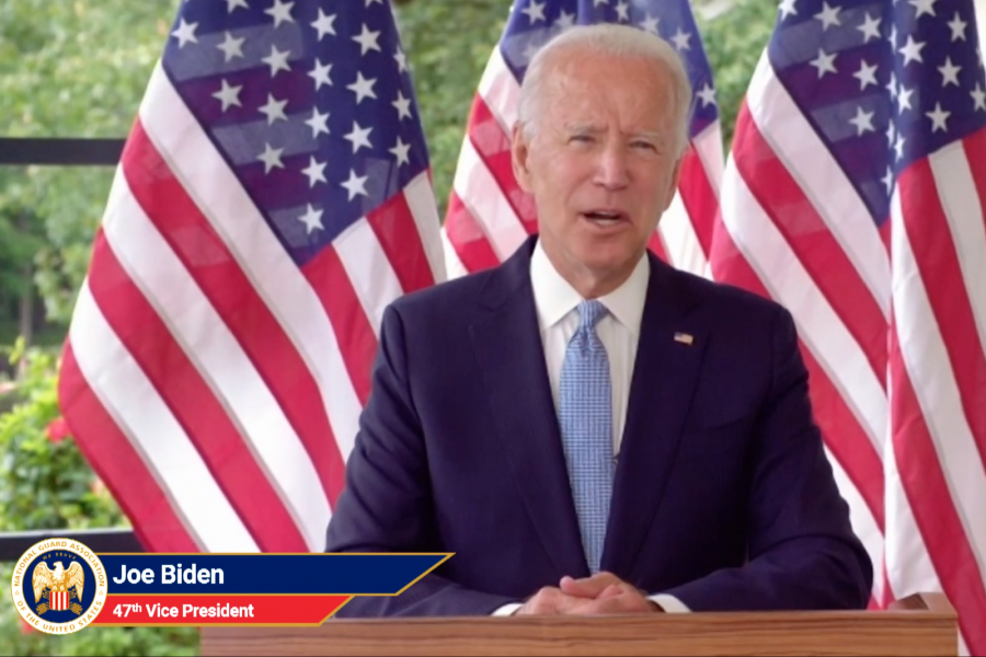 Former Vice President Joe Biden speaks at the virtual National Guard Association of the United States conference