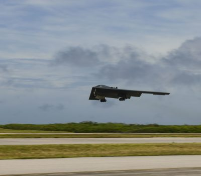 B-2 Spirit Stealth Bomber takes flight from Naval Support Facility Diego Garcia