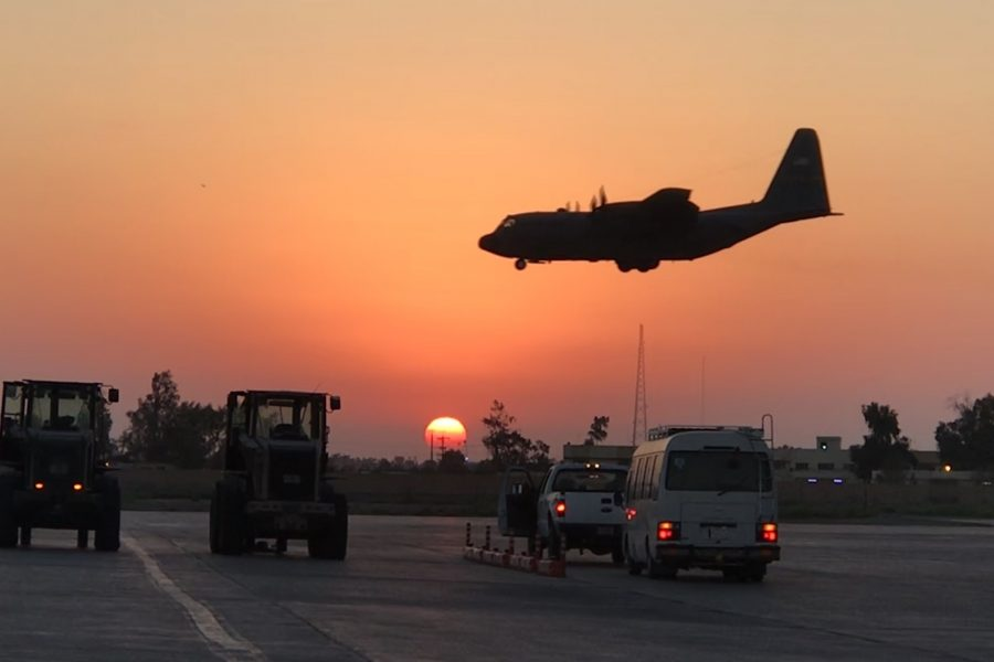 A C-130 Hercules aircraft lands at Camp Taji, Iraq, Aug. 22, 2019. The base was recently transferred to the Iraqi Security Forces Aug. 23, 2020, as Combined Joint Task Force-Operation Inherent Resolve continued the long-range plans of the Coalition and Government of Iraq to defeat the remnants of Daesh. (Courtesy photo)