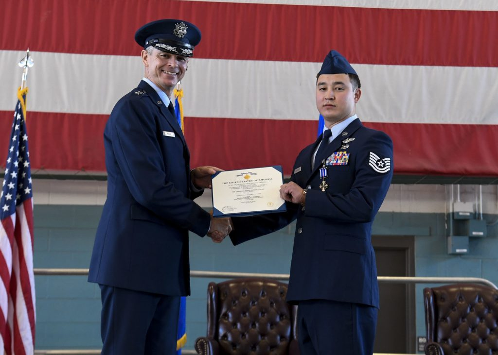 19th Air Force Commander bestows Bronze Star Medal and Distinguished Flying Cross to recipients