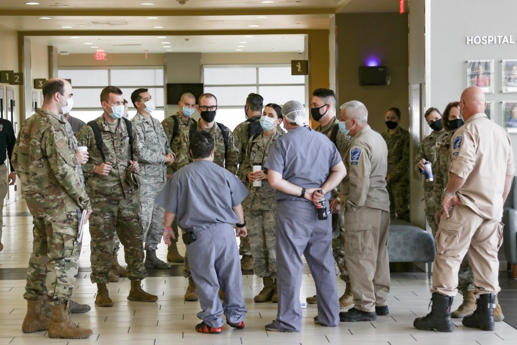 Airmen in-process at the Hospitals of Providence Transmountain Campus in El Paso