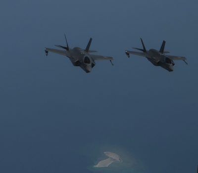 U.S. F-35As, UAE Desert Falcons and Mirage 2000s fly in formation