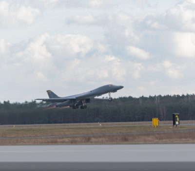 Bomber Task Force hot-pit refuels in Poland