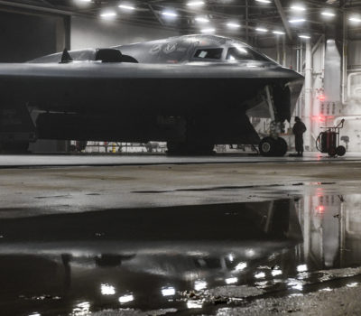 A B-2 Spirit Stealth and 393rd Aircraft Maintenance Squadron crew chiefs prepares for a training sortie