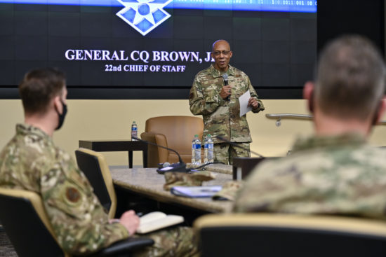 CSAF Brown speaks at Command Chief Training