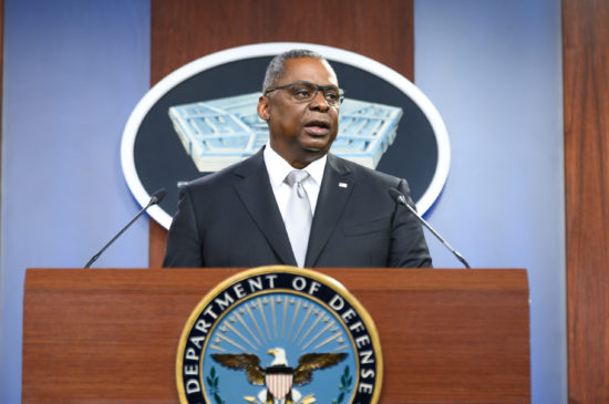 Secretary of Defense Lloyd J. Austin III briefs the press
