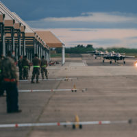 U.S. Air Force F-35 fighter aircraft arrive at Mont-de-Marsan Air Force Base, France